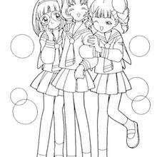 Coloriage de Sakura et ses copines - Coloriage - Coloriage MANGA - Coloriage de SAKURA