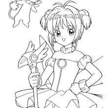 Coloriage de Sakura princesse de Clow - Coloriage - Coloriage MANGA - Coloriage de SAKURA