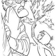 Coloriage Disney : Coloriage de Shere Khan et le feu