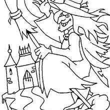 Coloriage d'une sorcière sur son balai - Coloriage - Coloriage FETES - Coloriage HALLOWEEN - Coloriage SORCIERE HALLOWEEN