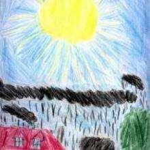 Sous la pluie - Dessin - Dessin PAYSAGES - Dessin PAYSAGES A COLORIER