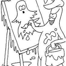 Coloriage d'un tableau de fantôme - Coloriage - Coloriage FETES - Coloriage HALLOWEEN - Coloriage FANTOME HALLOWEEN