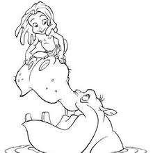 Coloriage Disney : Tarzan sur un hippopotame