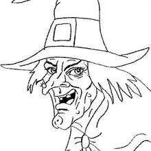 Coloriage d'Halloween : Tête de sorcière