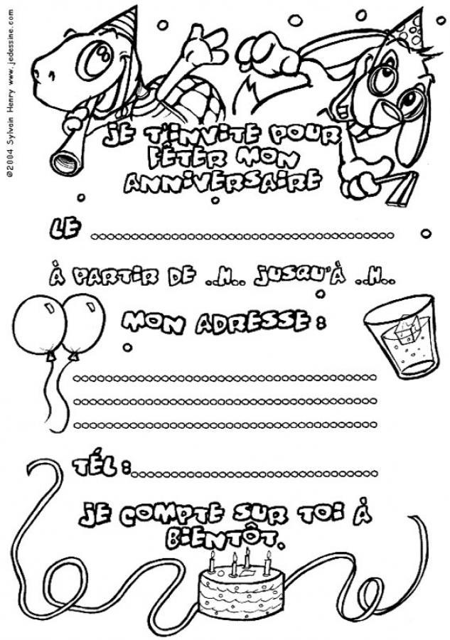 Coloriages invitation tortue - Dessin invitation ...