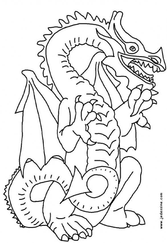 Coloriage d'un dragon fantastique