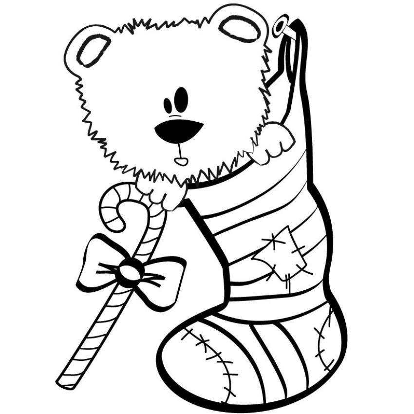 Coloriages coloriage d 39 un ourson dans une chaussette - Dessin ourson a imprimer ...