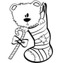 Coloriage d'un ourson dans une chaussette