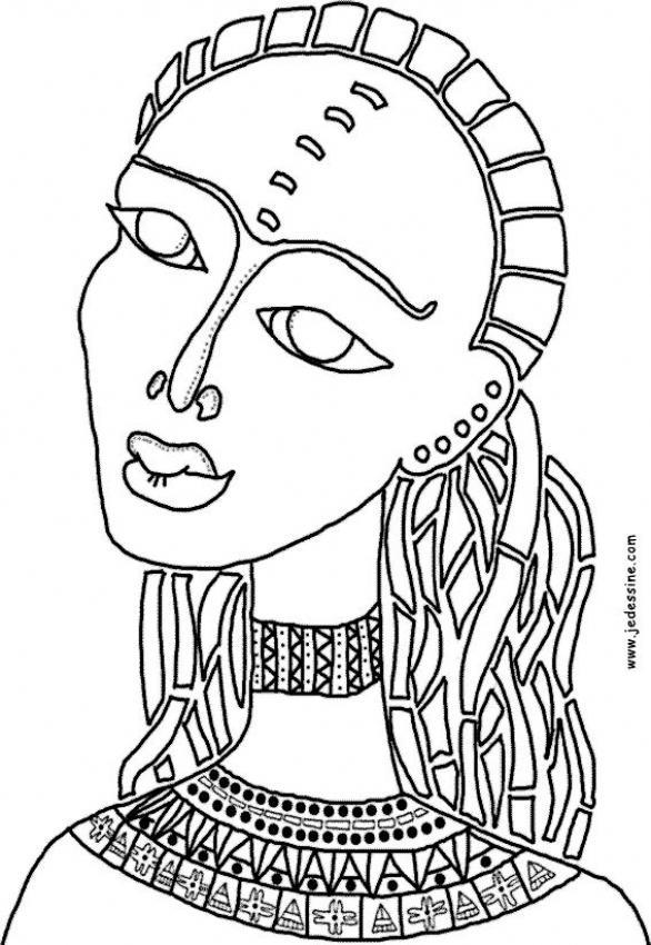 Coloriage d'une femme africaine
