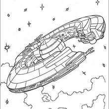 Coloriage STAR WARS du vaisseau de la Fédération du Commerce - Coloriage - Coloriage FILMS POUR ENFANTS - Coloriage STAR WARS - Coloriage VAISSEAUX STAR WARS
