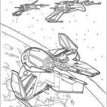 Coloriage STAR WARS des vaisseaux dans l'espace - Coloriage - Coloriage FILMS POUR ENFANTS - Coloriage STAR WARS - Coloriage VAISSEAUX STAR WARS