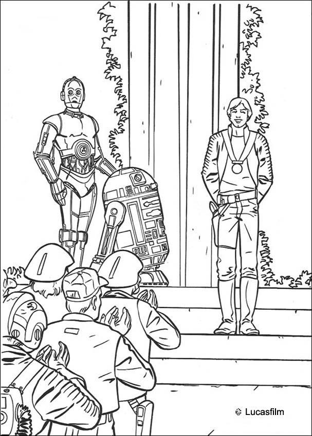 Coloriages coloriage star wars de la victoire luke r2 d2 et c 3po - Coloriage star wars 3 ...