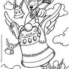 Coloriage d'un lapin à cheval sur une cloche - Coloriage - Coloriage FETES - Coloriage PAQUES - Coloriage LAPINS DE PAQUES