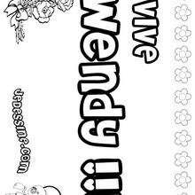 Wendy - Coloriage - Coloriage PRENOMS - Coloriage PRENOMS LETTRE W