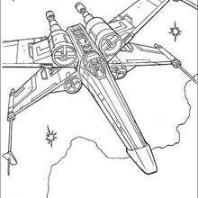 Coloriage STAR WARS de X-Wing de Luke Skywalker