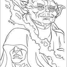 Coloriage STAR WARS de Yoda contre l'empereur