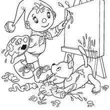 Coloriage de Zim et Oui-Oui en train de peindre