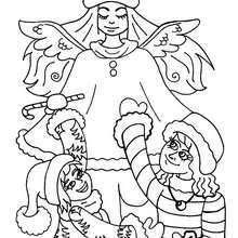 Coloriage de l'ange de Noel - Coloriage - Coloriage FETES - Coloriage NOEL - Coloriage ANGE NOEL - Coloriage ANGE DE NOEL A IMPRIMER