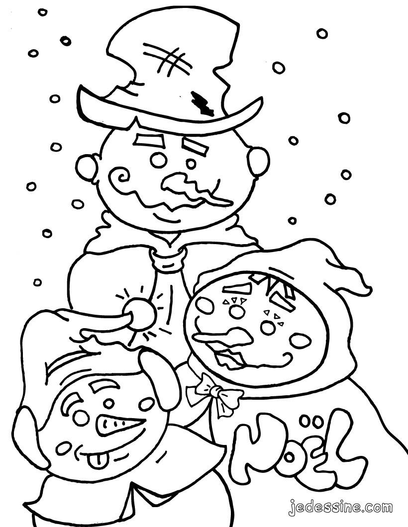 Coloriage des bonhommes de neige Coloriage Coloriage FETES Coloriage NOEL Coloriage BONHOMME