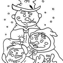 Coloriage des bonhommes de neige - Coloriage - Coloriage FETES - Coloriage NOEL - Coloriage BONHOMME DE NEIGE - Coloriages BONHOMME DE NEIGE