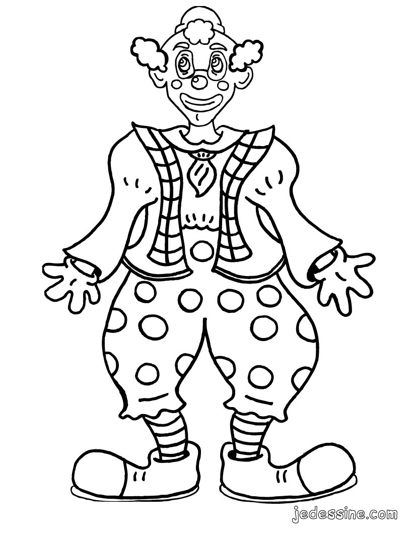 Coloriage : un clown rigolo