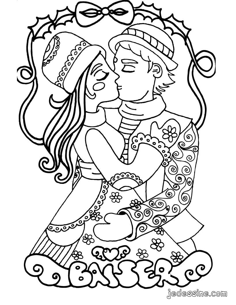 Coloriages coloriage du baiser des amoureux - Coloriage d amoureux ...