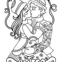 Coloriage du baiser des amoureux - Coloriage - Coloriage A IMPRIMER - Coloriage A IMPRIMER PERSONNAGES - Coloriage de PERSONNAGES D'AUJOURD'HUI