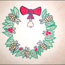 La couronne de Noël - Dessin - Apprendre à dessiner - Dessiner des personnages de Noël