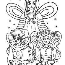 Coloriage : La fée et deux petits elfes