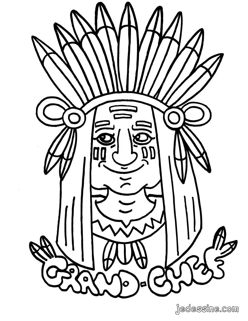 Comment dessiner un indien - Coloriage indien ...