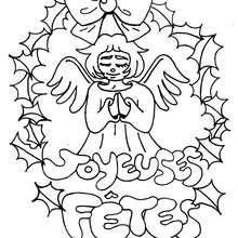 Coloriage d'un ange de Noël - Coloriage - Coloriage FETES - Coloriage NOEL - Coloriage ANGE NOEL - Coloriages ANGE DE NOEL