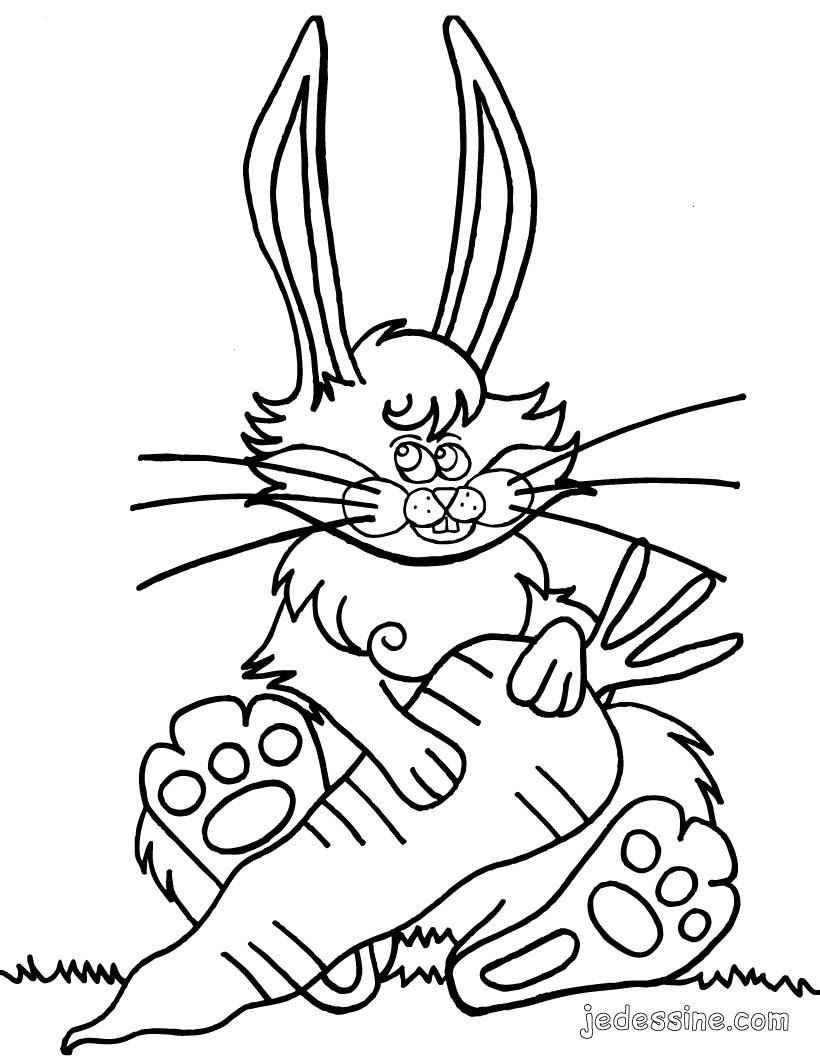 Coloriages coloriage d 39 un lapin et sa carotte fr - Carotte coloriage ...