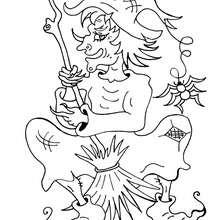 Coloriage d'un lutin qui joue du balai - Coloriage - Coloriage FETES - Coloriage NOEL - Coloriage LUTIN DE NOEL - Coloriage LUTIN DE NOEL A IMPRIMER