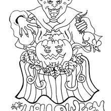 Coloriage d'Halloween : Coloriage du monstre et la citrouille