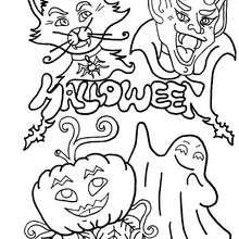 Coloriage d'Halloween : Coloriage des monstres d'Halloween