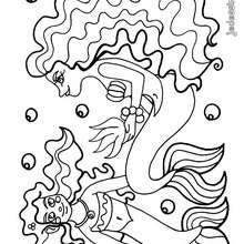 Coloriage d'une maman et d'une petite fille sirène - Coloriage - Coloriage ANIMAUX - Coloriage ANIMAUX MARINS - Coloriage SIRENES