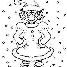 Coloriage d'un lutin de Noël