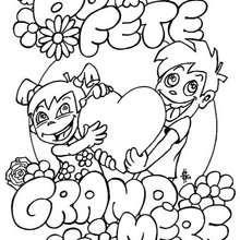 Coloriage de bonne fête grand-mère - Coloriage - Coloriage FETES - Coloriage FETE DES GRANDS MERES - Cartes pour le fête des Grands Mères
