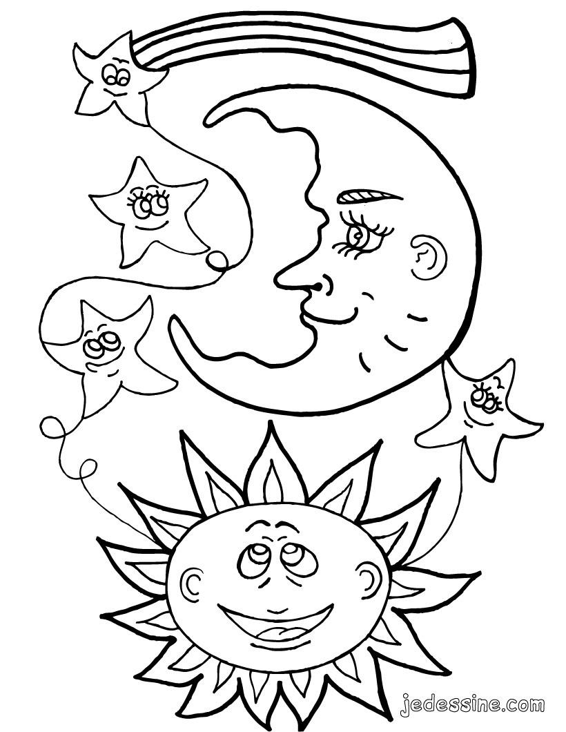 Coloriages coloriage du soleil la lune et les toiles - La lune coloriage ...