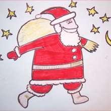 Le Père-Noël sur les toits - Dessin - Apprendre à dessiner - Dessiner des personnages de Noël