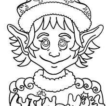 Coloriage du portrait d'un lutin - Coloriage - Coloriage FETES - Coloriage NOEL - Coloriage LUTIN DE NOEL - Coloriages LUTIN DE NOEL