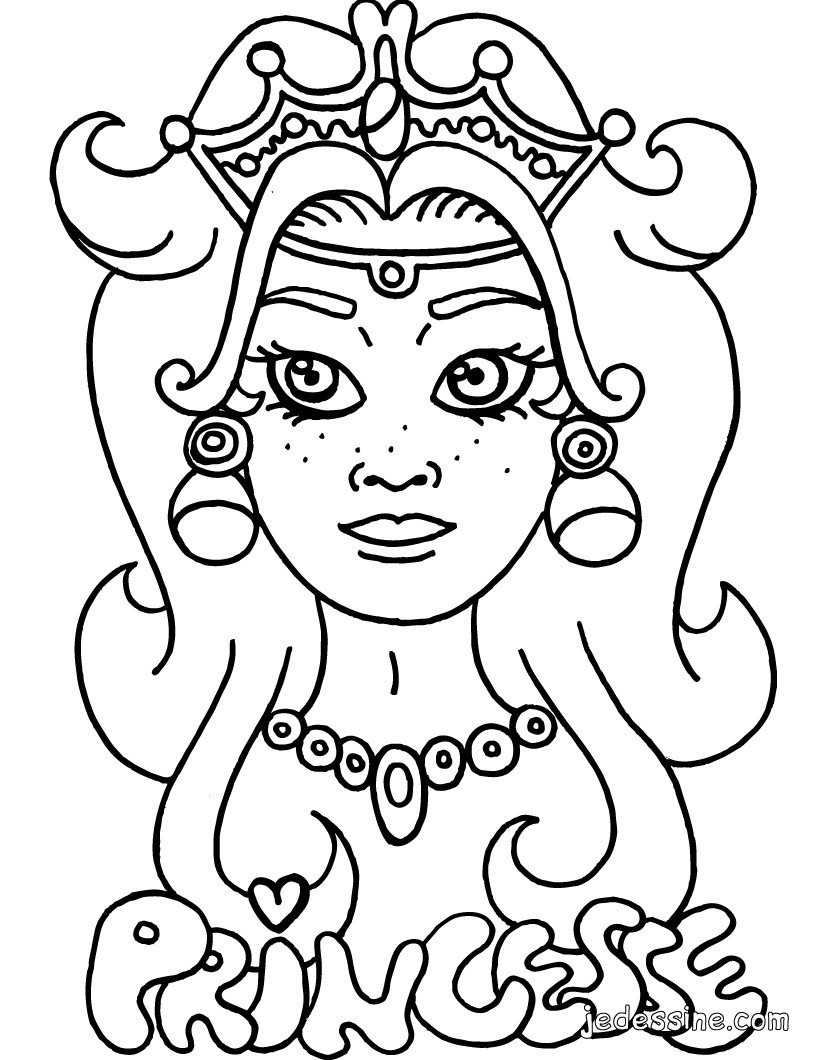 Coloriages coloriage d 39 un visage de princesse fr - Masque de princesse a colorier ...