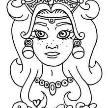 Coloriage d'un visage de princesse - Coloriage - Coloriage A IMPRIMER - Coloriage A IMPRIMER PERSONNAGES - Coloriage de PERSONNAGES HISTORIQUES