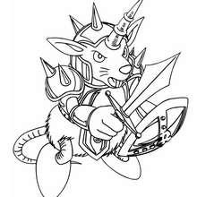 Coloriage de Yu-Gi-Oh : Beaver Warrior - Coloriage - Coloriage MANGA - Coloriage Yu-Gi-Oh!