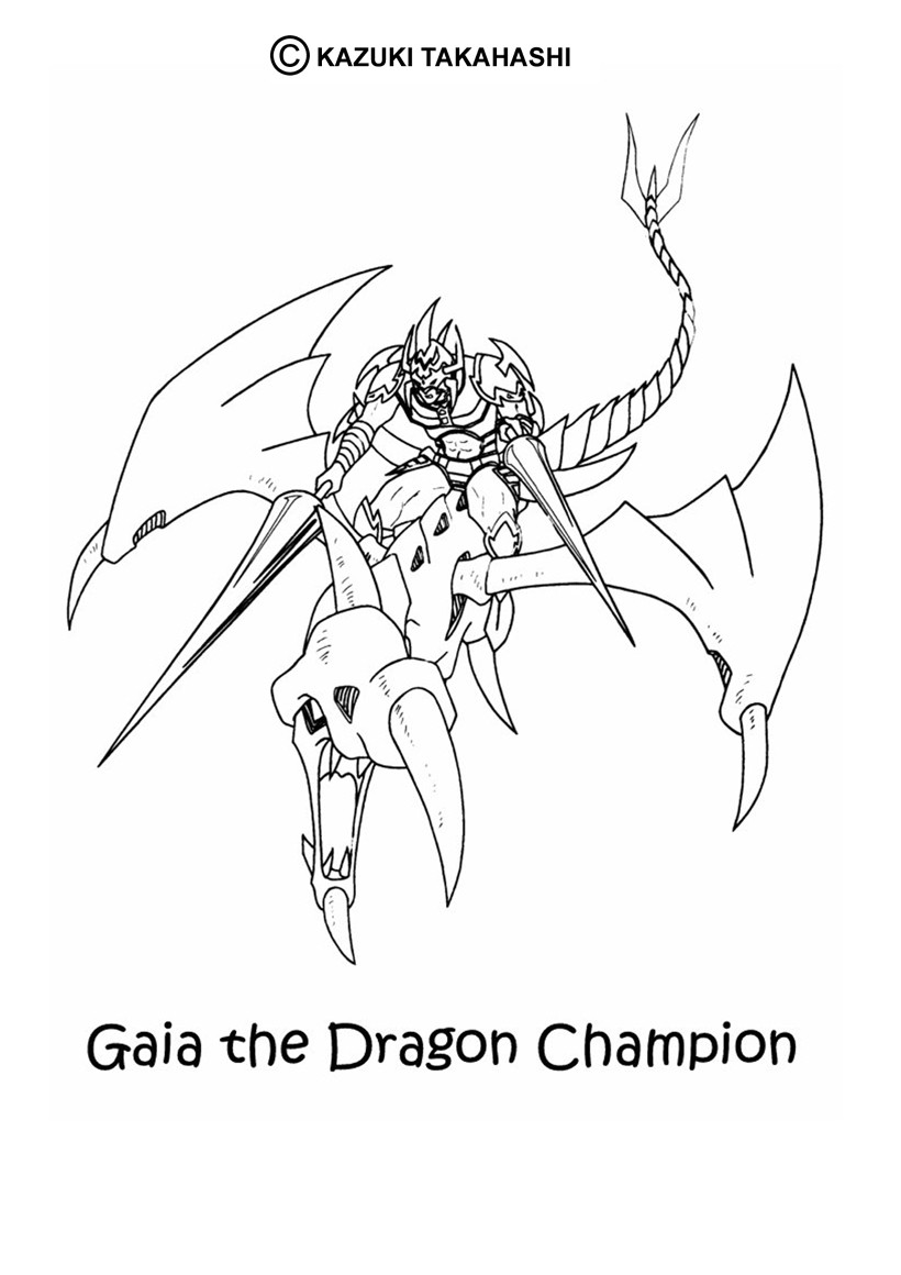 Coloriage de Yu-Gi-Oh : Gaia et le dragon