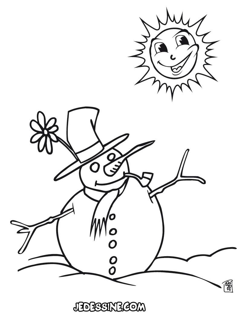 Coloriage d un bonhomme de neige Coloriage Coloriage FETES Coloriage NOEL