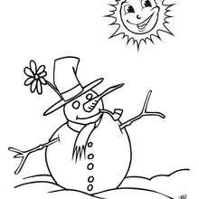 Coloriage : Bonhomme de neige à la fin de l'hiver