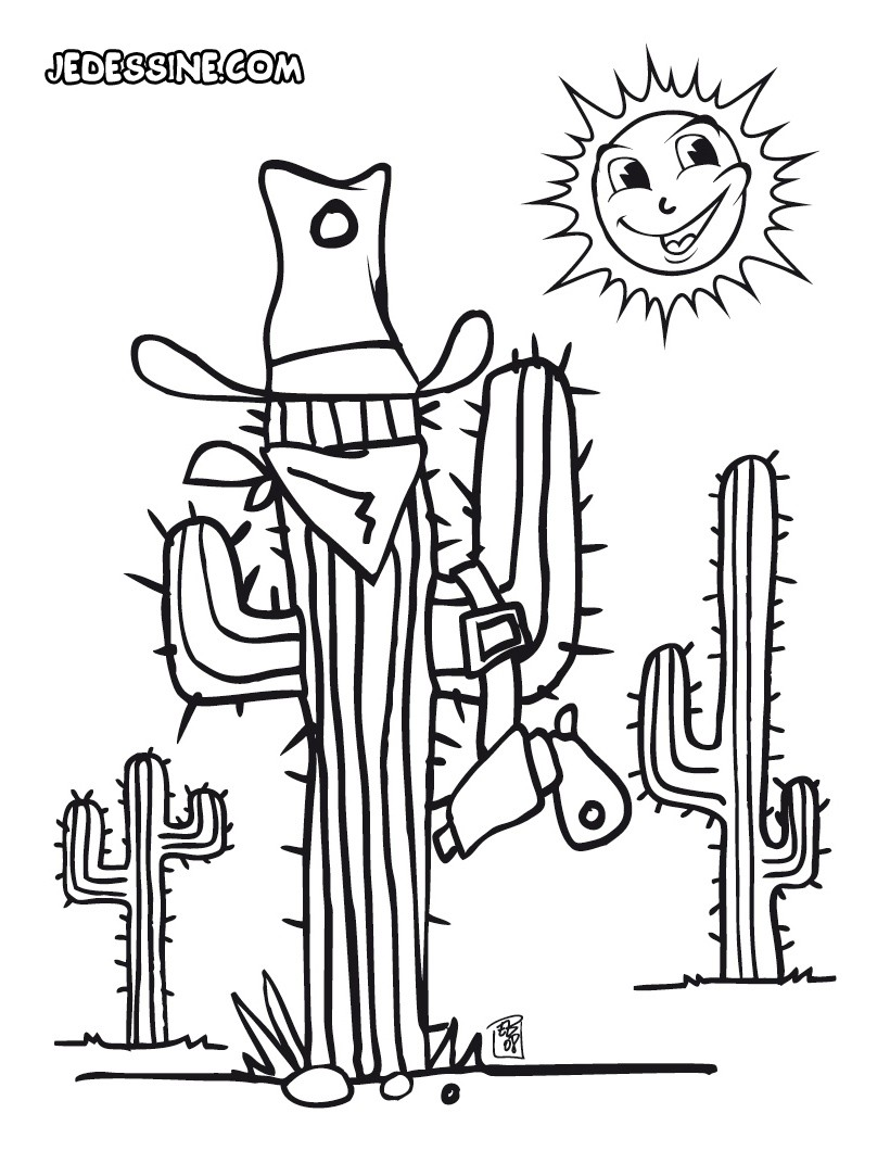 Coloriage d'un cactus déguisé en bandit