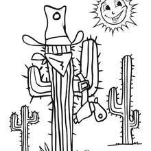 Coloriage d'un cactus déguisé en bandit - Coloriage - Coloriage GRATUIT - Coloriage GRATUIT WESTERN - Coloriage WESTERN GRATUIT