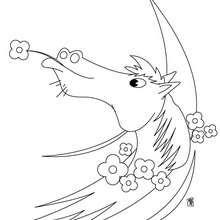 Coloriage : Cheval avec une fleur